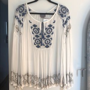 Anthropologie sheer embroidered bell sleeve tunic